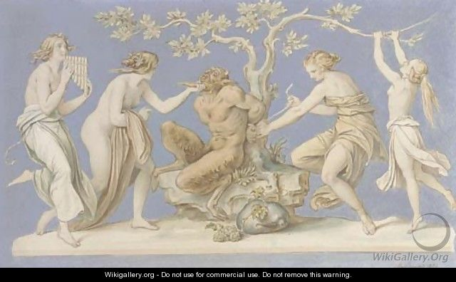 Four nymphs tying Pan to a tree - Moritz Ludwig von Schwind