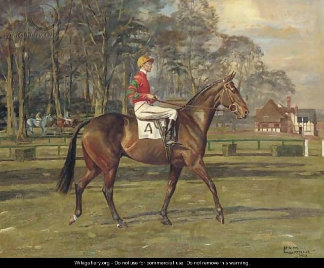 A racehorse with jockey up - Molly M. Latham