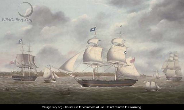 The brigs Mariote and Margaret in the Mersey off the Wirral - Miles Walters