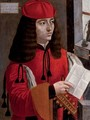 Portrait of a gentleman in a red coat and cap holding a lute and a letter - Milanese School