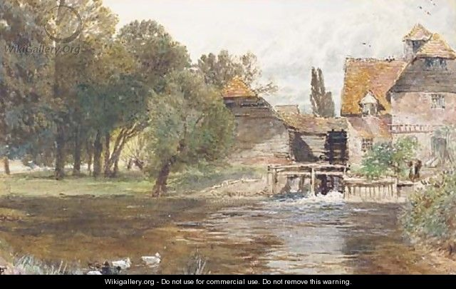 Study of a figure beside a watermill, with ducks in the foreground - Myles Birket Foster