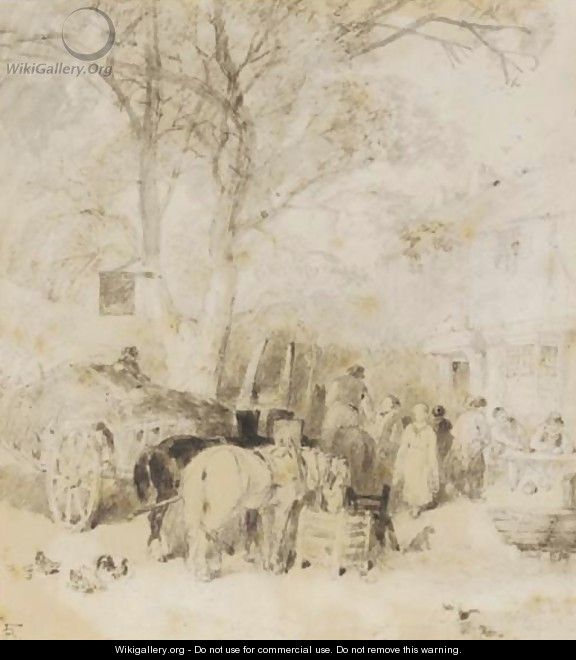 Outside the village inn - Myles Birket Foster