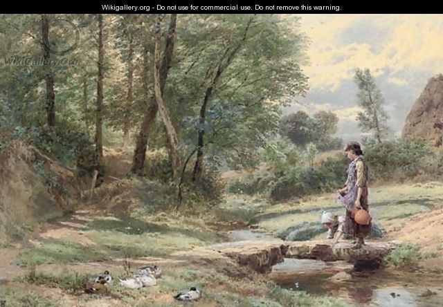Crossing the stream - Myles Birket Foster