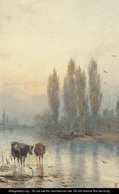 Cattle watering, evening - Myles Birket Foster