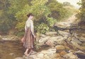 A girl crossing a stream - Myles Birket Foster