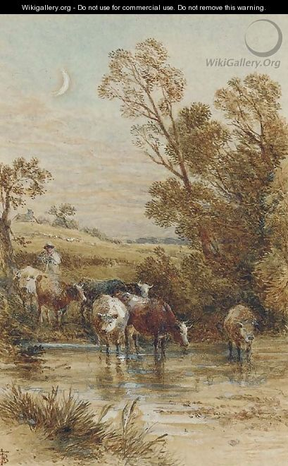 A drover and cattle crossing a ford under a crescent moon - Myles Birket Foster