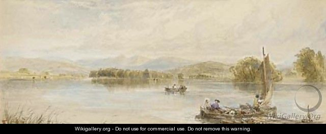 Boating on a lake - Myles Birket Foster