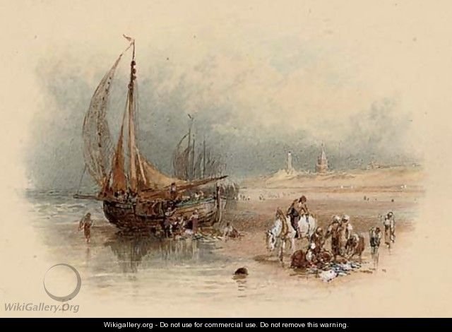 Unloading the catch on the beach at Scheveningen - Myles Birket Foster
