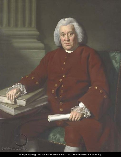 Portrait of Robert Marsh of the East India Company, three-quarter-length, seated at a table in a brown coat with lace cuffs - Sir Nathaniel Dance-Holland