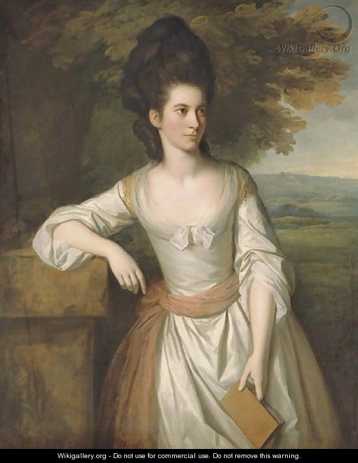 Portrait of Mrs. Vere, three-quarter-length, in a white dress with a pink sash, holding a book in her left hand, with a landscape beyond - Sir Nathaniel Dance-Holland