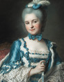 Portrait of Madame Cailloux bust-length, wearing a blue dress and holding a fan, seated on a Louis XV chair - Maurice Quentin de La Tour