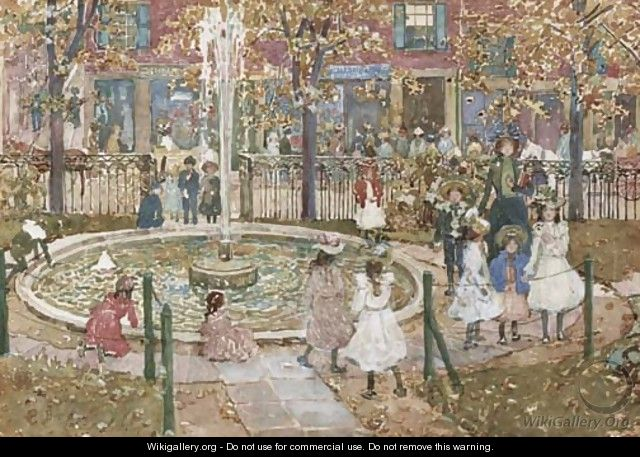 Courtyard, West End Library, Boston - Maurice Brazil Prendergast
