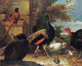 A peacock, a peahen, a pheasant, a turkey, a cockerel and chicks by a wall, a landscape beyond - Melchior de Hondecoeter