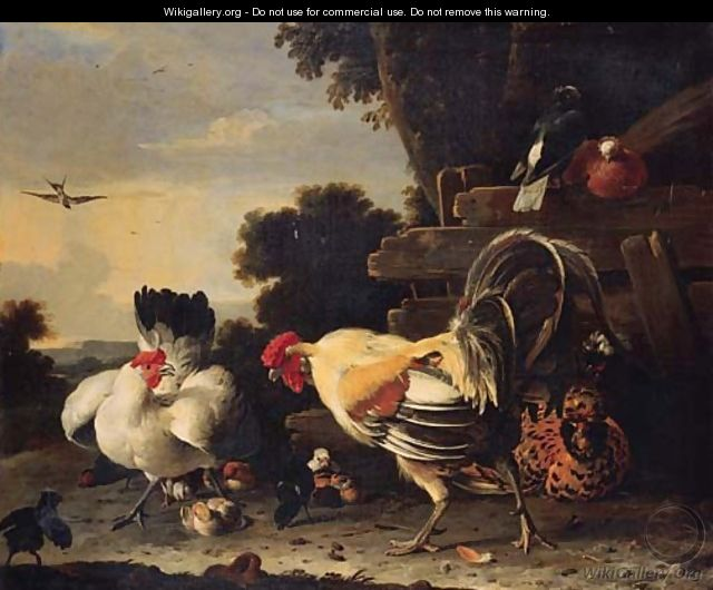 A hen protecting her chickens against a cockerell - Melchior D