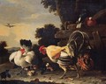 A hen protecting her chickens against a cockerell - Melchior D'Hondecoeter