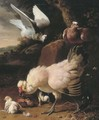 A chicken, chicks and pigeons on a fence, in a landscape - Melchior D'Hondecoeter