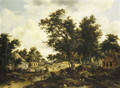 A wooded landscape with travellers on a path through a hamlet - Meindert Hobbema