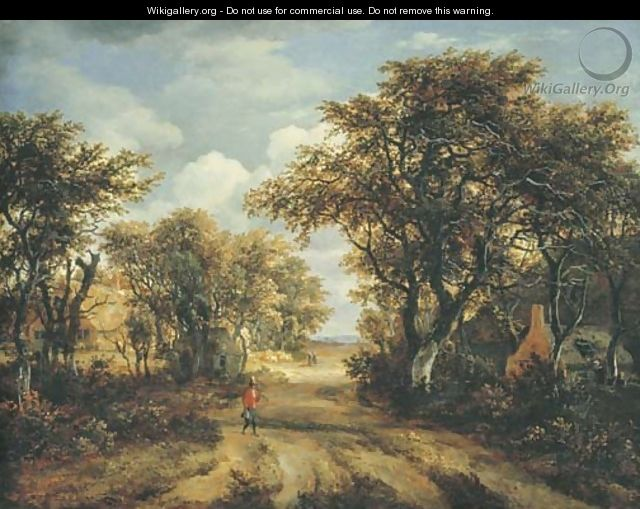 A wooded landscape with a hunter and other figures on a path - Meindert Hobbema