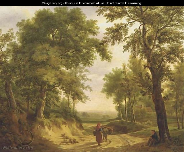 On a forest path in summer - Maximilien Lambert Gelissen