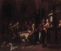 Elegant company making music and dining on a roof terrace - Maximilian Blommaerdt