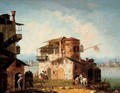 A capriccio with rustic houses and figures on horseback - Michele Marieschi