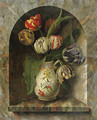 Parrot Tulips in a Jug on a stone Ledge in an Alcove - Michel Joseph Speckaert