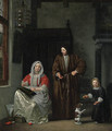 An elegant Family with a Dog in an Interior - Michiel van Musscher