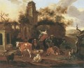 An Italianate landscape with shepherds and their cattle near a ruin - Michiel Carree