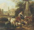 An Italianate landscape with shepherds and their cattle by a fountain - Michiel Carree