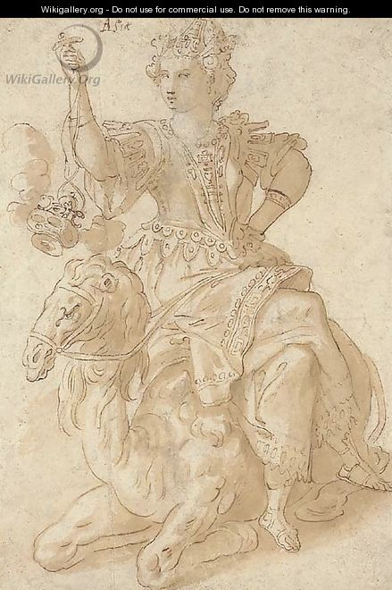 Asia seated on a camel and holding an incense burner - Cornelis De Vos