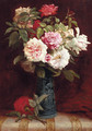 Roses in a vase on a mantle - Martial Hupe