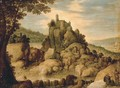 An extensive rocky river landscape with pilgrims resting on a path - Maerten Ryckaert