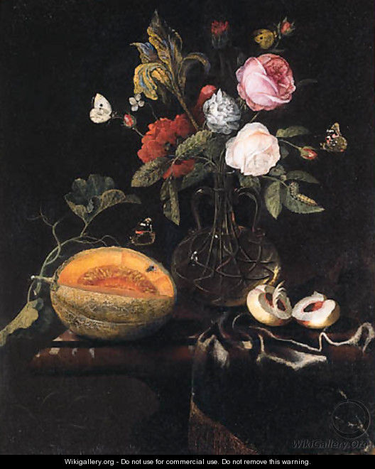 Roses, an iris and other flowers in a glass vase, a melon and a peach with butterflies on a draped marble table - Marten Nellius