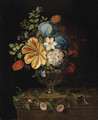 Flowers in a glass Vase with Blackcurrants on a Ledge - Martin Van Dorne