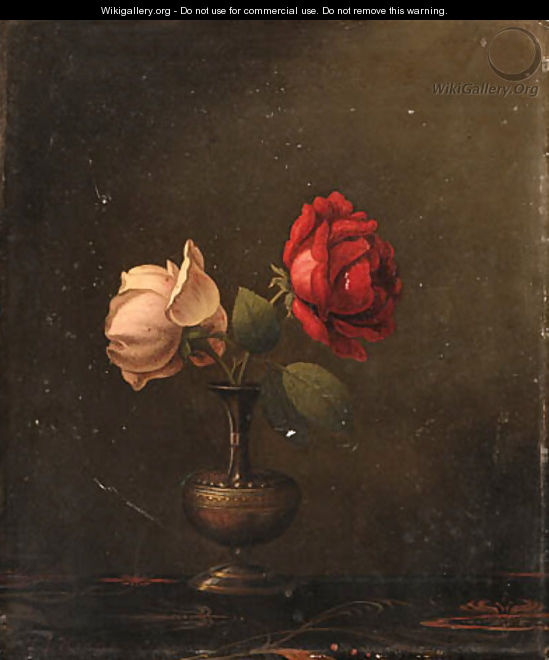 Still Life with Red and Pink Roses - Martin Johnson Heade