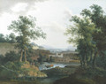 An extensive wooded river landscape with shepherds and their cattle in the foreground, a city beyond - Mattheus Derk Knip