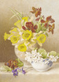 Still life with daffodils, cyclamen and anemones in ceramic vases on a ledge - Mary Elizabeth Duffield
