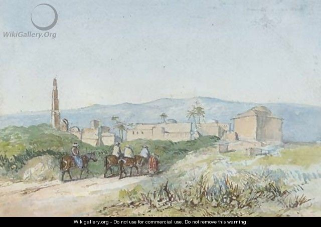 Travellers on horseback approaching a Palestinian town, possibly Lydda - (after) William James Muller