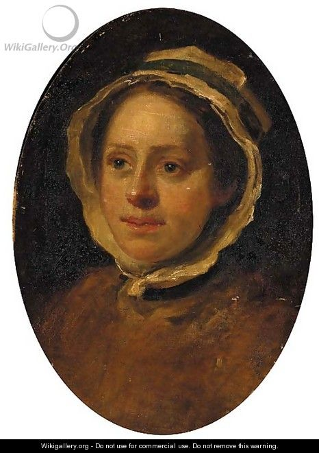 Portrait of a woman, head-and-shoulders, a study - (after) William Hogarth