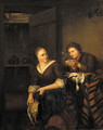 A Vanitas A man courting a maid in an interior - (after) Willem Van Mieris