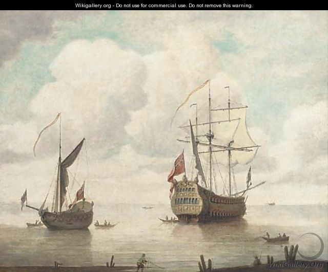 The flagship departing from her anchorage - (after) Willem Van De, The Elder Velde