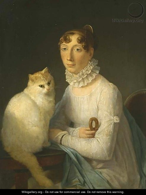 A lady with her cat - Marguerite Gerard