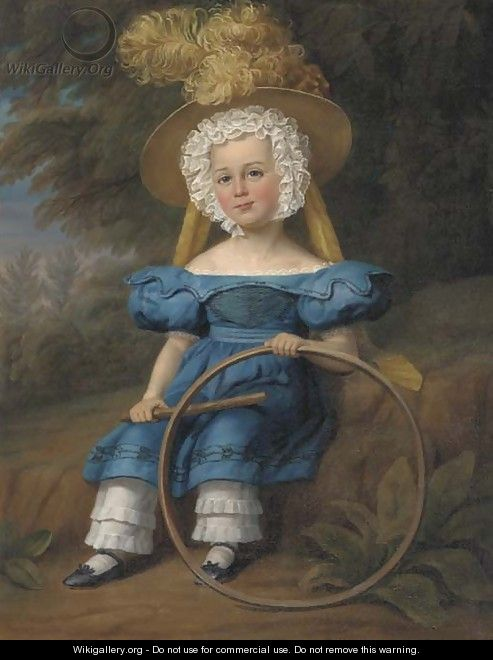 Portrait of a boy, seated full-length, in a blue dress and feathered hat, holding a hoop, in a landscape - Margaret Sarah Carpenter