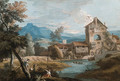 An extensive mountainous landscape with a mill by a stream - Marco Ricci