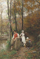Fishing Along the Riverbank - Marie Francois Firmin-Girard