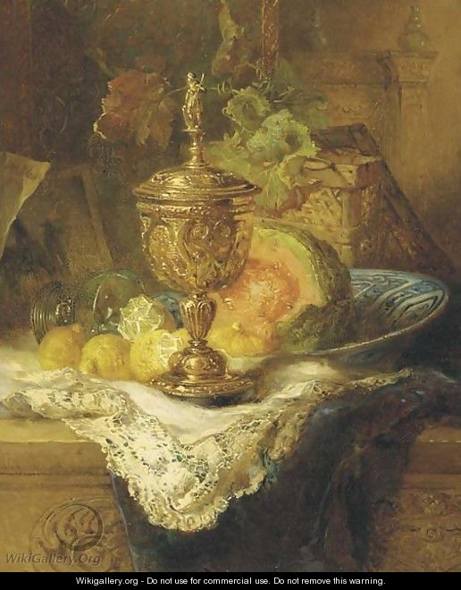 Fruits and a gilt auricular cup and cover on a ledge - Maria Vos