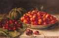 Still life with cherries and a pumpkin on a table - Maria Johanna Jacoba Gerardina Beelaerts Van Blokland