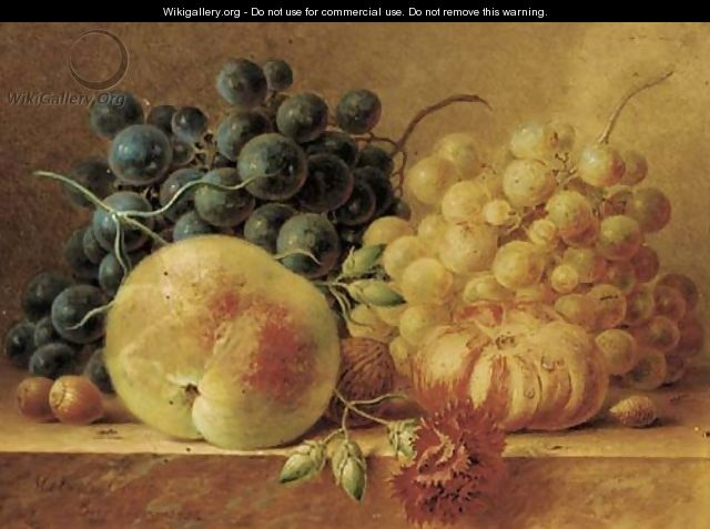 Grapes, a peach, a tomato, a carnation and nuts on a marble ledge - Maria Gertrude Goeje-Barbiers