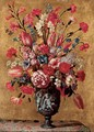 Tulips, carnations, roses, anemones, gladioli, lilac, morning glory and other flowers in a sculpted urn, on a tabletop - dei Fiori (Nuzzi) Mario