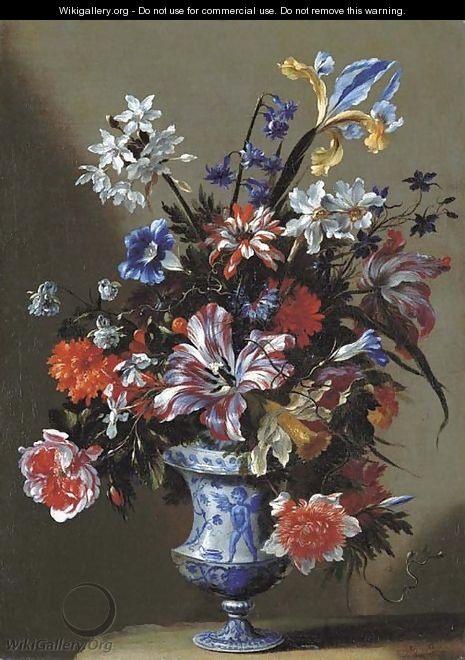 Lilies, peonies, narcissi, morning glory and other flowers in a blue and white vase on a stone ledge - dei Fiori (Nuzzi) Mario